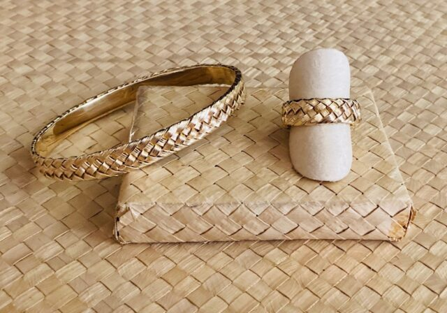Coco85 Ring and Bangle 14kt by Artist Pamela Braun