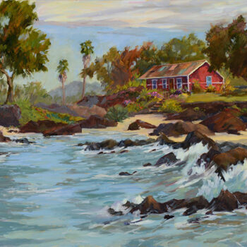 Red Cottage on Lagoon by Artist Jan Bushart
