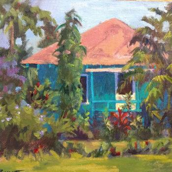 Turquoise Cottage by Artist Jan Bushart