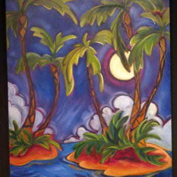 Midnight Through the Palms by Artist Kim McDonald