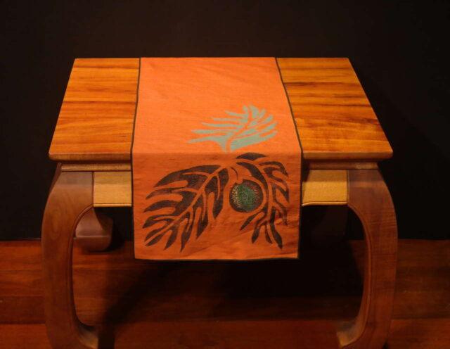 """Breadfruit - 45"""" Handprinted Silk Table Runner by Artist Joan Blackshear"""