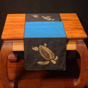 "Honu - 45"" Handprinted Silk Table Runner by Artist Joan Blackshear"