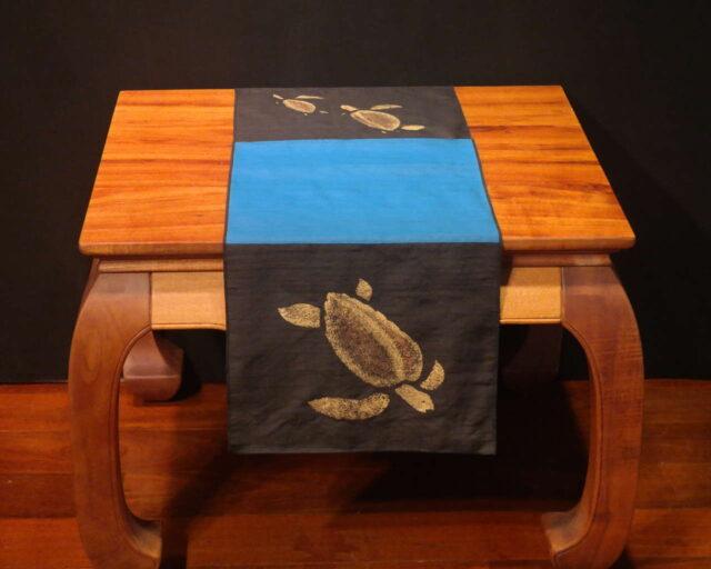 "Honu - 45"" Handprinted Silk Table Runner by Artist Joan Blackshear"