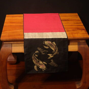 "Koi Fish - 72"" Handprinted Silk Table Runner by Artist Joan Blackshear"