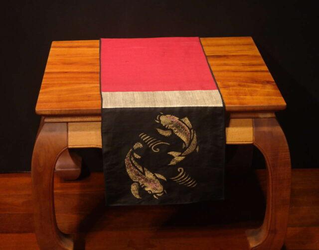 """Koi Fish - 72"""" Handprinted Silk Table Runner by Artist Joan Blackshear"""
