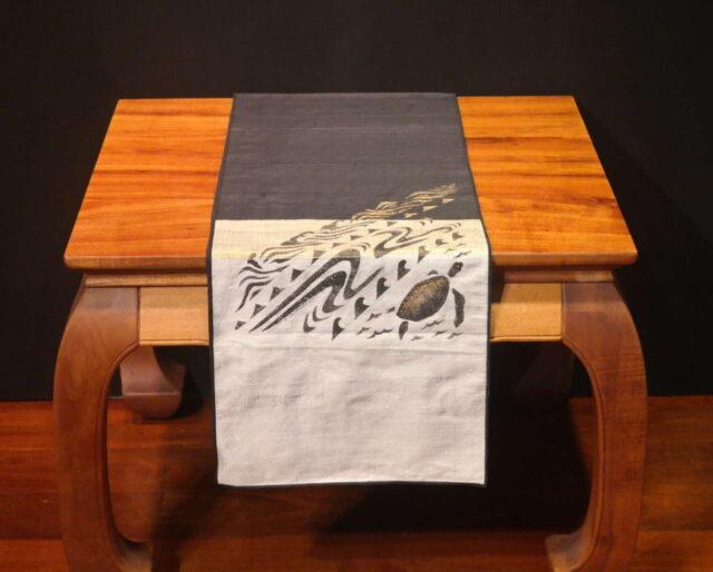 """Seaturtle - 72"""" Handprinted Silk Table Runner by Artist Joan Blackshear"""