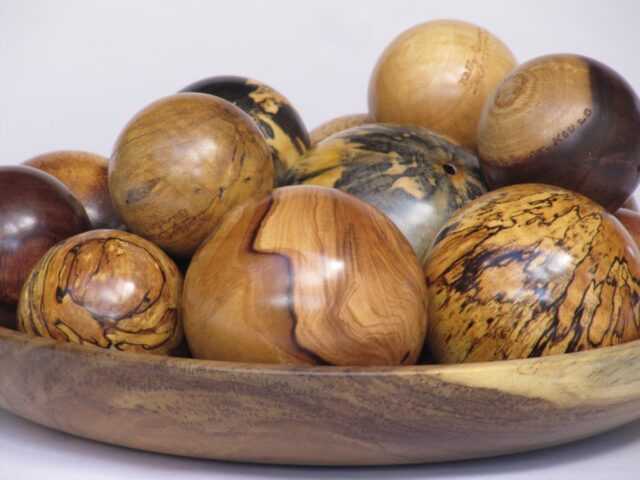 Platter of 19 Turned Wooden Balls by Artist Kelly Dunn
