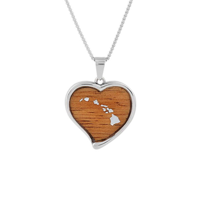 Koa Jewelry Heart Pendant