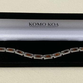 Koa and Titanium Link Bracelet by Artist Komo Koa
