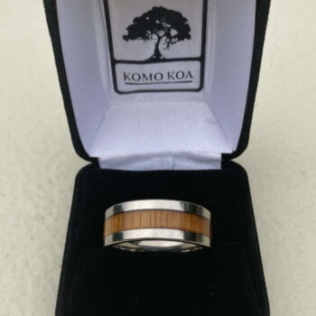 Koa and Titanium Ring by Artist Komo Koa