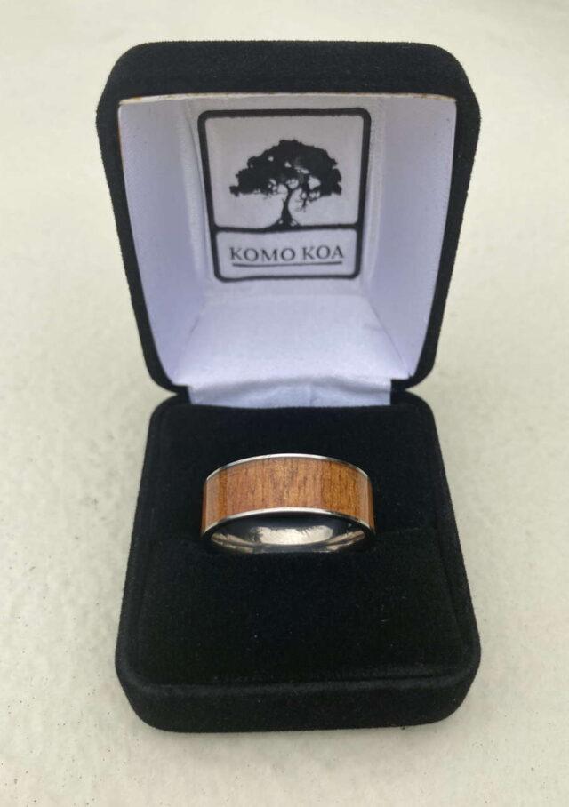 Koa and Titanium Ring by Artist Komo Koa