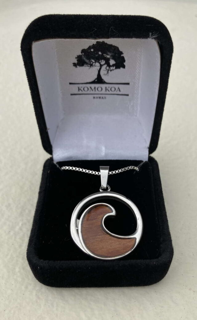 Koa Wave Pendant by Artist Komo Koa Jewelry