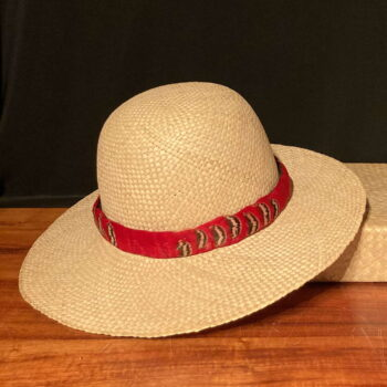 Red & Black Feather Hatband by Maui Feather Artists