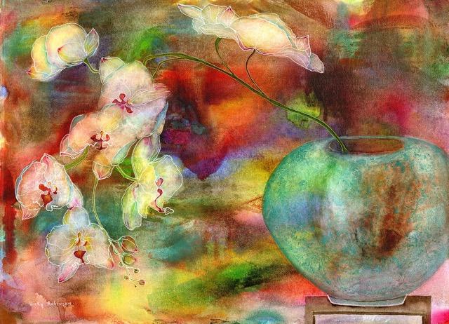 Orchids in Celedon Vase by Vicky Robinson