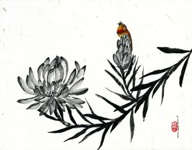 Original Sumi-e Painting on Rice Paper by Vicky Robinson