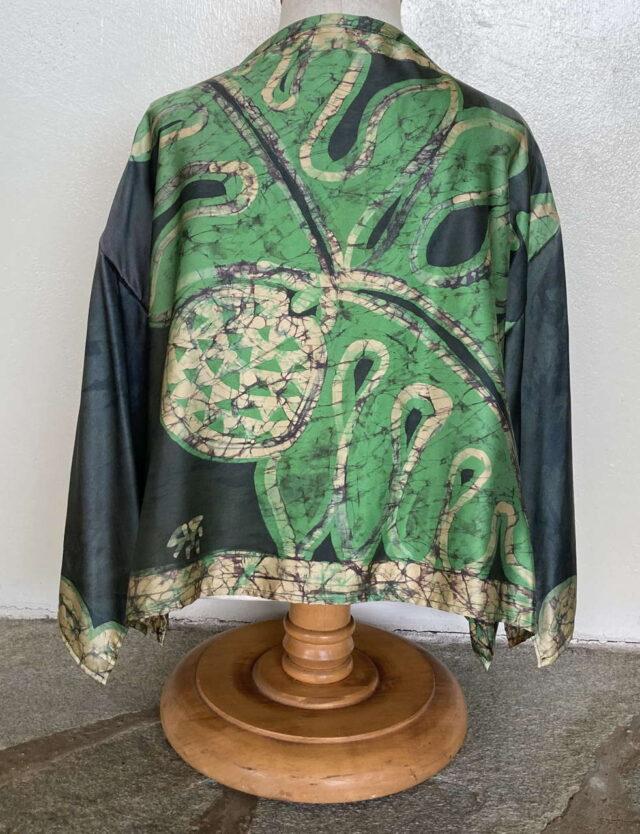 Green Breadfruit Short Silk Jacket - Back View