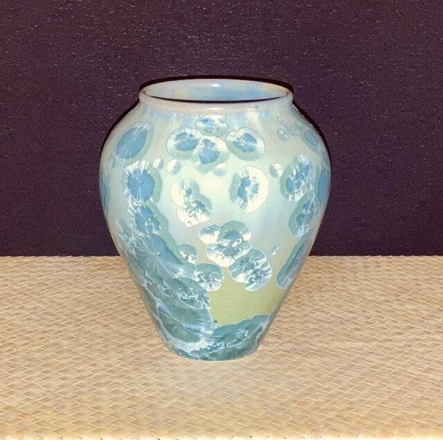 Crystalline Porcelain Aqua Vase by Artist Robert Troost