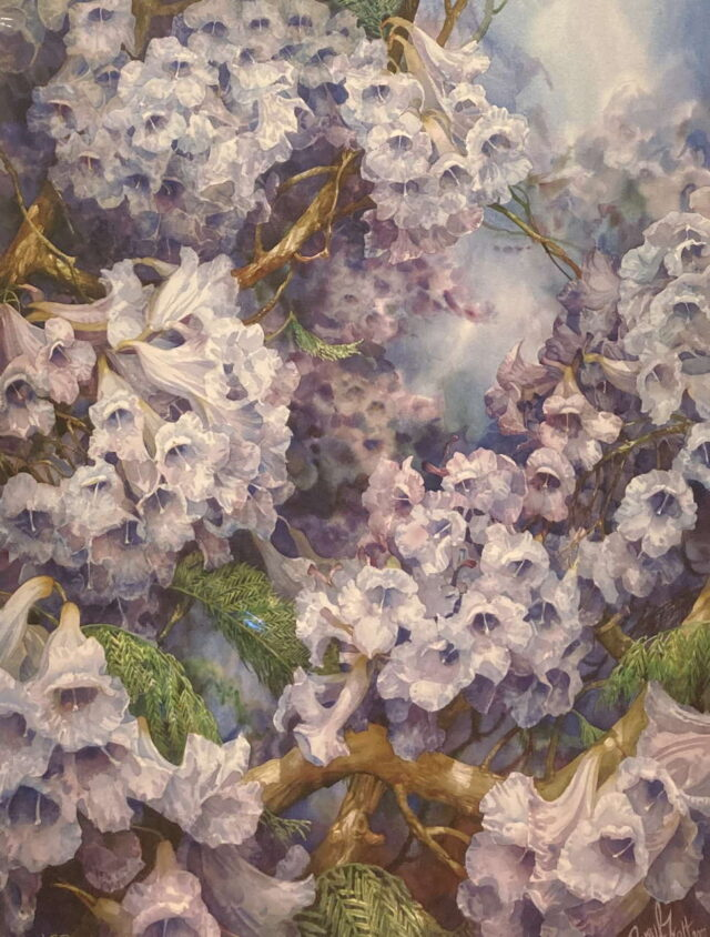 Jacaranda Skies Golden Limited Edition Giclees by Artist Darryl Trott