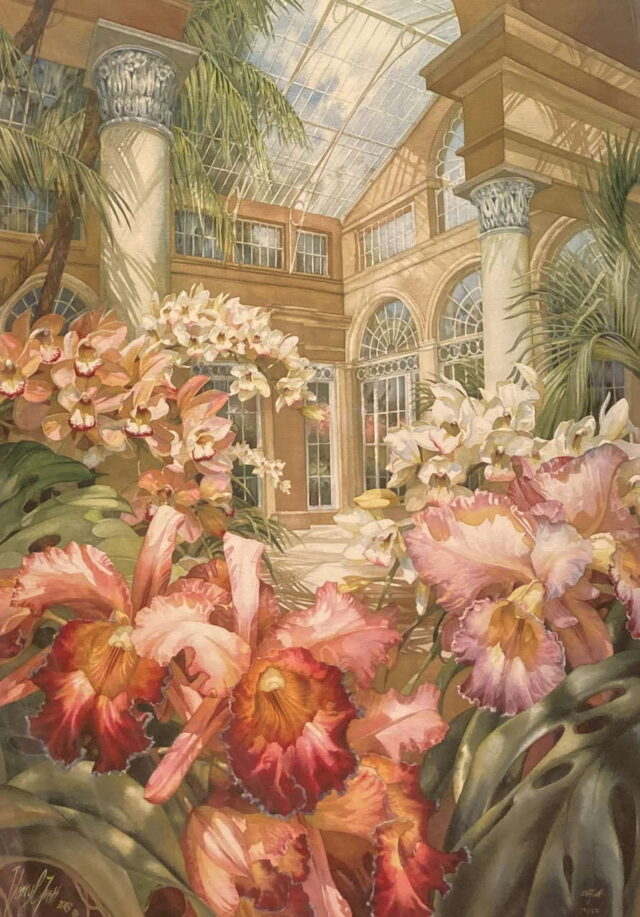 Orchid Conservatory Limited Golden Edition Giclee by Artist Darryl Trott